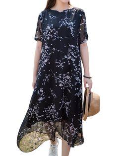 Elegant Women Short Sleeve Printed Layered Dresses