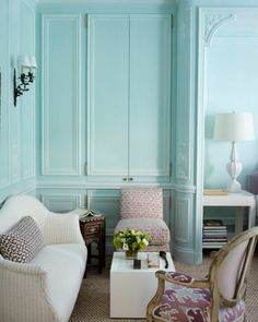 Tom Scheerer Decorates - blue bedroom seemakrish Breach Candy-hathi gray as pillow