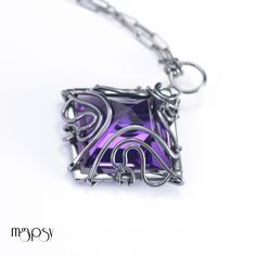Selidor - Handmade amethyst pendant wire wrapped in sterling silver. Fine jewelry by mgypsy.
