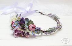 Lavender eucalyptus flower crown Flower halo Bridal floral crown Wedding flower crown Flower crown Floral hair wreath Girl flower crown