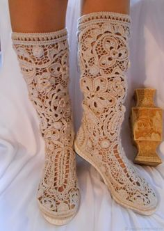Best 12 Image may contain: shoes – SkillOfKing. Crochet Boot Socks, Crochet Sandals, Crochet Slippers, Knitting Socks, Hand Knitting, Crochet Shoes Pattern, Crochet Headband Pattern, Crochet Patterns, Stocking Pattern