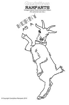 Free PDF Download Vintage-Inspired Goat #embroidery #pattern by Candyfloss Ramparts