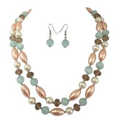 2 Row Peach Blue and White Layered Glass and Resin Imitation Pearl Bead Statement Necklace Earrings Set -- Check out the image by visiting the link.