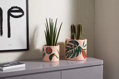 Poseidon Set of 2 Tropical Palm Print Planters, Multi | MADE.com Small Potted Plants, Colorful Plants, Sanya, Macrame Hanging Planter, Hanging Planters, Ikebana, Moon Plant, Poseidon, Terrazo