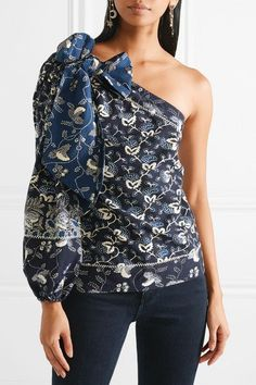 bf02c350cb77f6 ULLA JOHNSON alluring Asima one-shoulder embroidered printed cotton-blend  top