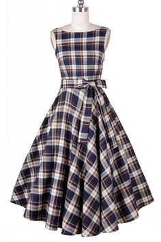 Retro Round Collar Plaid Sleeveless Mid-Calf Dress For Women | Disney dapper day. Love the flare in this dress.