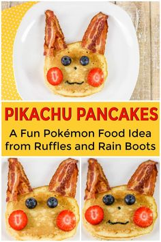 Pikachu Pancakes - A Fun Pokémon Birthday Breakfast Pokemon - Crafts, Food, and Party Schauen Sie si Birthday Treats, 6th Birthday Parties, 8th Birthday, Birthday Month, Pokemon Themed Party, Pokemon Birthday Cake, Pikachu, Kids Birthday Breakfast, Birthday Food Ideas For Kids