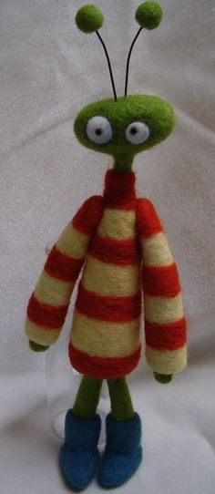 Needle Felted monster by Carolyn Jones. Felted monster from her daughters art :)
