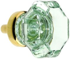 Octagonal Pale Green Glass Knob With Brass Base | House of Antique Hardware