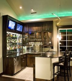 Great Bar Ideas for your media room! Infinity's 'Webfoots Sports Bar' - contemporary - media room - portland - dC Fine Homes & Interiors Basement Bar Designs, Home Bar Designs, Cool Basement Ideas, Corner Bar, Coffe Corner, Corner Space, Sweet Home, Home Living, Basement Remodeling