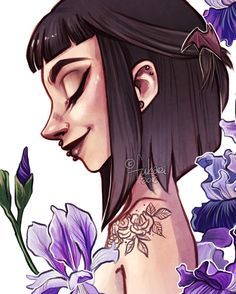 my latest painting Off and irises Character Inspiration, Character Art, Character Design, Art Through The Ages, Goth Art, Human Art, Poses, Dark Art, Cartoon Art