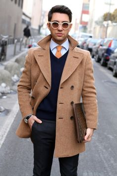 Peacoat, tie, vest = classy out and about clothes