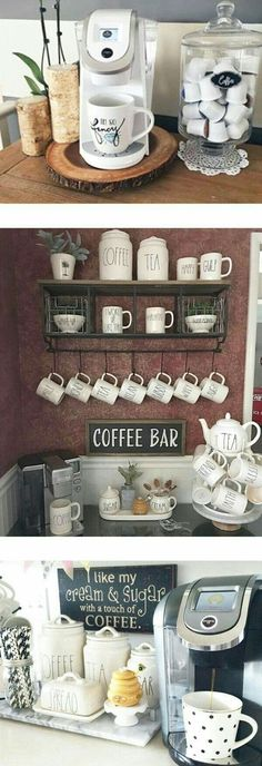Love these coffee nook ideas - super cute coffee bar set up ideas for my kitchen DIY Coffee Bars and Blends Coffee Nook, Coffee Bar Home, Coffe Bar, Coffee Counter, Coffee Area, Coffee Shops, Wine And Coffee Bar, Coffee Bar Design, Coffee Life