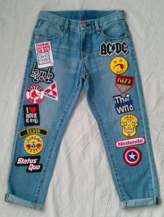 Patched Jeans / Reworked Vintage High Waisted Uniqlo Jeans with Patches / Vintage High Waisted Denim Jeans 28 Waist by KodChaPhornJacket465 on Etsy