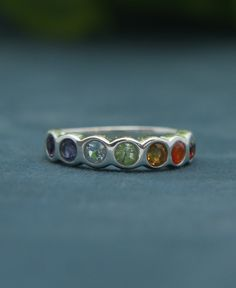 Seven Chakras Stone Band Ring, Sterling Silver