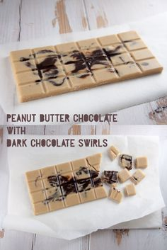 Peanut Butter Chocolate with Dark Chocolate Swirls - this vegan recipe sounds very indulging. Will definately give this a try. Vegan Candies, Raw Vegan Desserts, Vegan Dessert Recipes, Vegan Treats, Delicious Vegan Recipes, Raw Food Recipes, Sweet Recipes, Delicious Desserts, Vegan Food