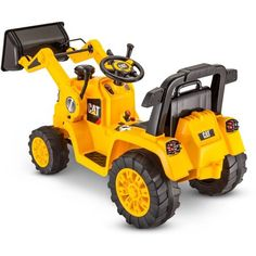 Cats Toys Ideas - Kid's Ride On Tractor Yellow Battery Powered Electric Toddler Car Truck Toy Yard - Ideal toys for small cats Toys For Boys, Kids Toys, Cat Bulldozer, Cat Construction, Tractors For Kids, Chevy, Toddler Car, Ideal Toys, Hello Kitty Birthday