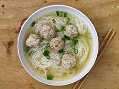 Rice noodles with chicken meatballs. I want this next time I am sick, please. Or, just next time I want noodles.