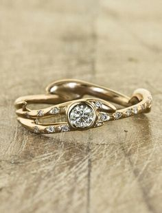i love the nature inspired gold setting this is a beautiful and unique engagement ring - Nature Inspired Wedding Rings