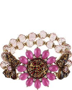Betsey Johnson - LEOPARD FLOWER STRETCH BRACELET