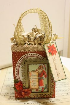 In My Blue Room: Vintage Christmas Gift Bag Tutorial Featuring Graphic 45 and Scrapbook Adhesives by 3L