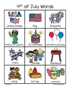 July 4th Words and Pictures Vocabulary... by KidSparkz | Teachers Pay Teachers Printable Preschool Worksheets, Free Kindergarten Worksheets, Summer School Themes, Independence Day Activities, American Flag Crafts, Fourth Of July Crafts For Kids, Flag Coloring Pages, Pre K Activities, Business For Kids