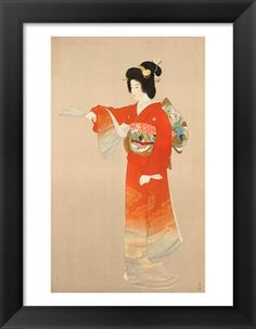 Japanese theme art - A woman in an orange kimono Title: Board of Tourist Industry poster, Japanese Government Railways Type: Fine-Art Print