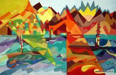 Varonfinearts geometric landscape watercolor 2013