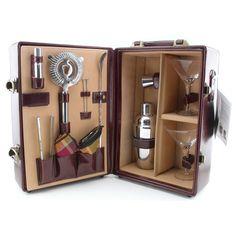 Picnic Time Deluxe Portable Travel Bar Set - Mahogany - kegworks