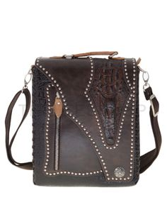 (UTBH353-BROWN) Mens Crocodile Closure Snap Button Patched Leather Cross Bag