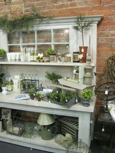 💖 Love this potting bench /server with an old window! ~ Mini garden on a potting bench by Nana to five