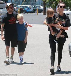 Daddy cool: Pete Wentz looked like he was having a great time with his girlfriend and children on Father's Day on Sunday