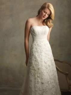 Organza and Satin Strapless Neckline A-Line Wedding Dress with Lace Appliques AC163 - Wedding Dress Shop