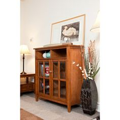 @Overstock.com - Norfolk Honey Brown Medium Storage Media Cabinet