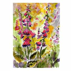 Ginette Calaway 'Foxglove - Digitalis Botanical Flowers Yellow and Pink Original Watercolor and Ink