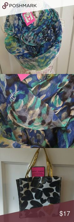 💋Betsey Johnson Infinity Scarf & tote NWT. Infinity Scarf. Green, blue, white, & black. Plus tote Betsey Johnson Accessories Scarves & Wraps