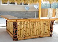 Big Kahuna Custom tiki hut and tiki bar Tropical Backyard, Backyard Bar, Patio Bar, Tropical Decor, Tiki Hut, Tiki Tiki, Bamboo House, Bamboo Bar, Bar Shed