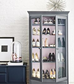 love the idea of putting a special pair of shoes under a glass cloche #shoestorage #shoedisplay #dreamcloset