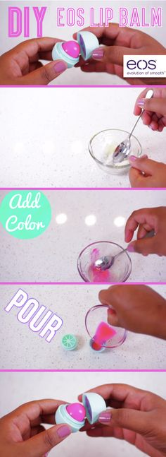How To Make Your Own Tinted Eos Lip Balm. Sounds surprisingly easy to do - and good! Cute Diys, Cute Crafts, Crafts To Do, Homemade Beauty, Diy Beauty, Teen Beauty, Beauty Advice, Eos Lip Balm, Lip Balms