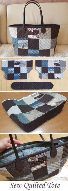 Quilted Patchwork Tote Bag Tutorial http://www.free-tutorial.net/2016/12/quilted-patchwork-bag-tutorial.html