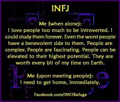 """INFJ<< Wowo I'm an ENTP, but I have the same thoughts!! minus the whole """" I need to get home"""" part"""