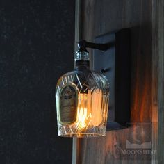 Crown Royal Whiskey Bottle Wall Sconce With Vintage Style Edison Bulb - Modern Rustic Decor - Farmhouse Light - Bar Lighting Liquor Bottle Lights, Liquor Bottle Crafts, Liquor Bottles, Unique Lighting, Bar Lighting, Crown Royal Whiskey, Crown Royal Bottle, Objets Antiques, Tube Vintage