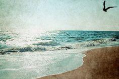 Seascape Photograph Beach Seagull Ethereal by KalstekPhotography Beach Print, Big Hugs, Ethereal, Canvas Wall Art, Coastal, Vibrant Colors, Beach Paintings, Photograph, Ocean