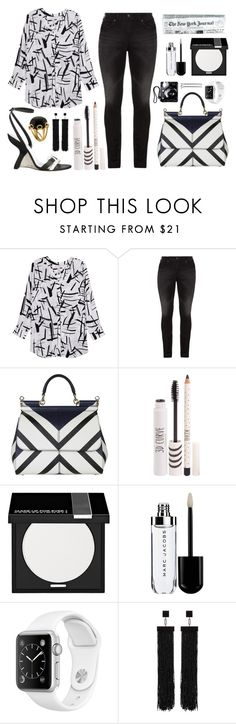 """""""Song of Black and White"""" by texaspinkfox ❤ liked on Polyvore featuring Melissa McCarthy Seven7, Silver Jeans Co., Dolce&Gabbana, Topshop, MAKE UP FOR EVER, Tom Ford, Valentin Magro and plus size clothing"""