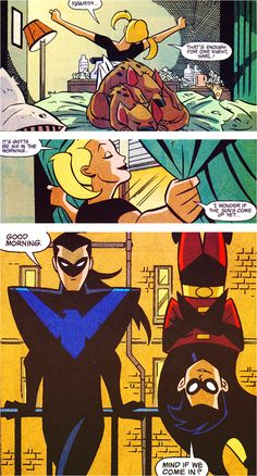 Harley Quinn, Robin & Nightwing. I love how Dick's shoulders look like a Dorito