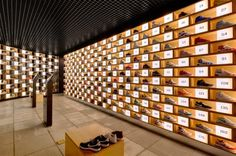 Built by Facet Studio in Sydney, Australia with date Images by Katherine Lu. In each of the x boxes, one by one, sneakers are carefully collected. The boxes are repeated, and offset . Shop Interior Design, Retail Design, Store Design, Design Shop, Retail Architecture, Displays, Shoe Display, Visual Display, Display Design