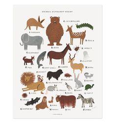 Animal Alphabet Chart Illustrated Art Print