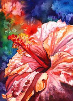 Tropical Hibiscus 2 Watercolor Painting Original from Kauai Hawaii orange hot pink