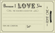 FREE Printable Love Vouchers