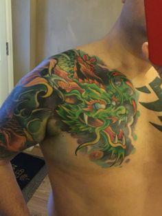 Japanese dragon by Steve Airey Leg Tattoo Men, Arm Sleeve Tattoos, Leg Tattoos, Body Art Tattoos, Tatoos, Dragon Tattoos For Men, Dragon Tattoo Designs, Tattoos For Guys, Tattoo Blog